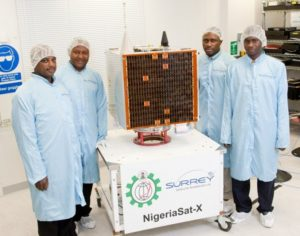 a group of Nigerian engineers with the NigeriaSat-X prior to launch